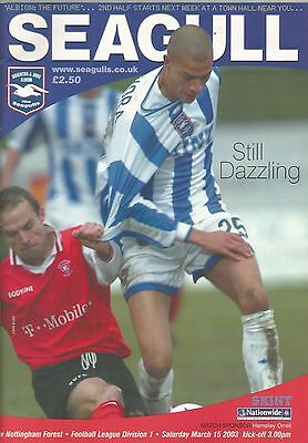 Brighton & Hove Albion v Nottingham Forest, 15 March 2003, Division 1