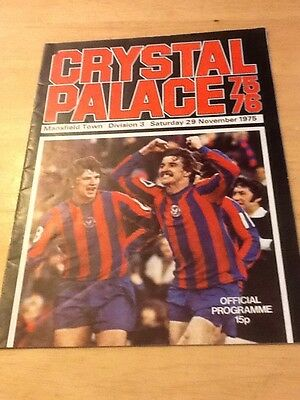 Football Programme Crystal Palace VS Mansfield Town 29th Nov 1975