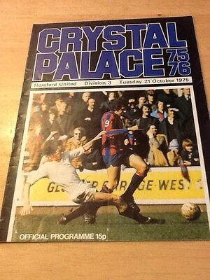 Football Programme Crystal Palace VS Hereford United 21st Oct 1975