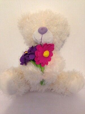 White Stuffed Bear With Flowers