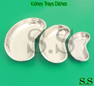 Set of 3 Stainless Steel Kidney Trays Dishes (S,M,L) New