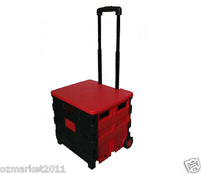 * New Convenient Red Plastic Two Wheels Collapsible Shopping Luggage Trolleys
