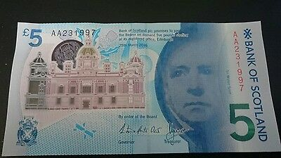 uncirculated bank of scotland £5 banknote note AA serial polymer
