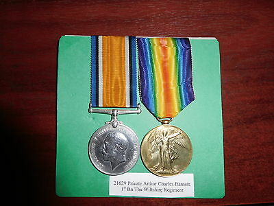 British war medal & Victory medal,WW1, Killed In Action 1918 Wiltshire Regiment.