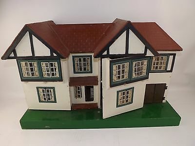 Vintage Tri-ang Tudor Dolls House Large Detached Property with Stable/Garage