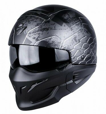 Scorpion EXO Combat Ratnik Silver Open Face Motorcycle Helmet Internal Sun Visor