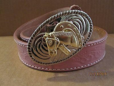 """New girls pink leather tooled belt/horse head buckle, 22""""."""