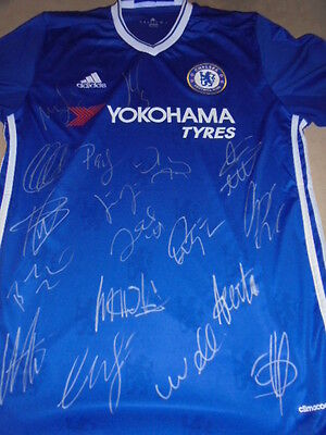Chelsea fc signed football shirt with COA. 2016-17 signed Soccer Jersey