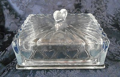 Quarter Pound Clear Glass Covered Butter Keeper / Dish w/ Textured Heart Pattern