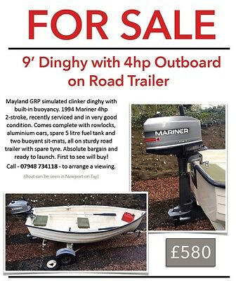 9 foot Dinghy, Mayland GRP with outboard and trailer