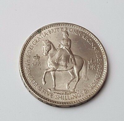 1953 - Coronation of Elizabeth II British Five Shilling / One Crown Coin