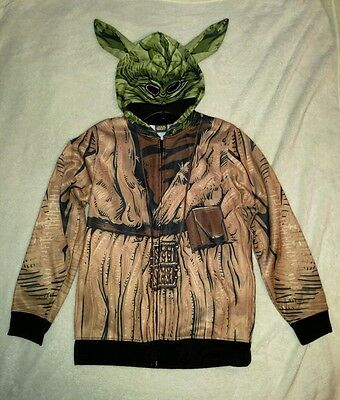 Star Wars Yoda Zip Up Hooded Mask Jacket Costume  Boys Large New