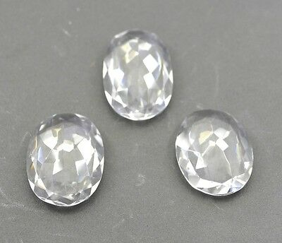 Crystal Quartz faceted Colorless Oval gems 21x29 1 pc