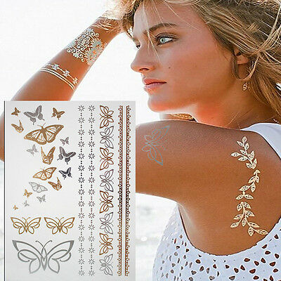 Butterflys Gold and Silver Henna Cute Tattoos Temporary Fake Tattoo Sticker