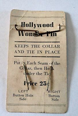 VINTAGE HOLLYWOOD WONDER PIN - Keeps Collar and Tie in Place - RARE FIND! LOOK!