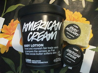 LUSH American Cream Body Lotion 225g Conditioner & Hairy McClairy Solid Shampoo