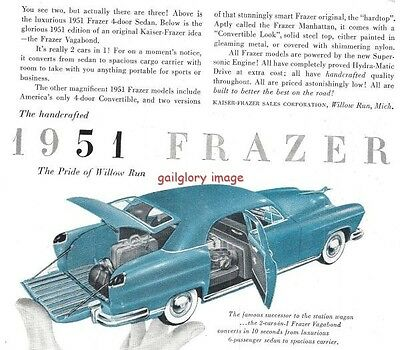 1950 Frazer 3 Vintage Auto Print Ads Pride Of Willow Run Mich 1951 Model Images