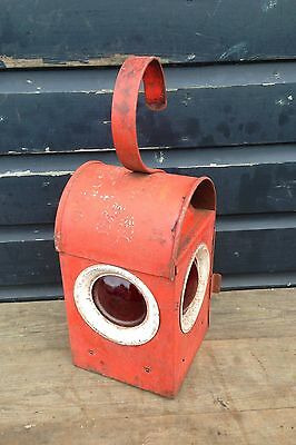Vintage industrial red Bat road light lantern
