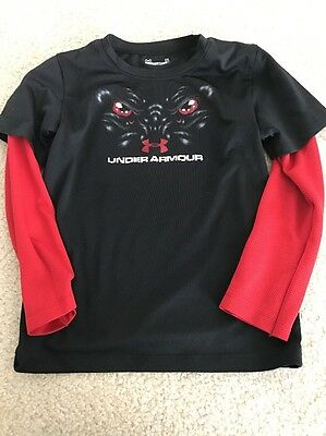EUC Boys Under Armour Long Sleeve Size 5 Raglan T Shirt Red And Black