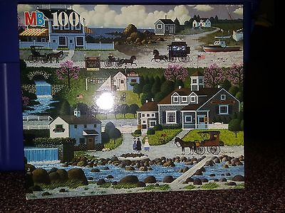 "Wysocki's Americana ""Cricket Hawk Harbor"" 1000 piece 23"" x 27"" puzzle MB 1987"