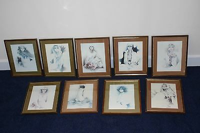 9 x VINTAGE RETRO SARA MOON PICTURE PRINTS - FRAMED