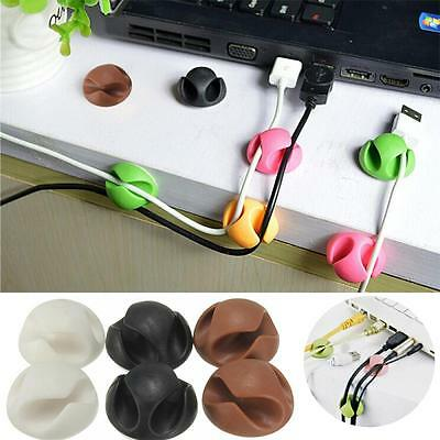3pcs Organizer Double Holes Adhesive USB Holder Cord Clips Wire Ties Cable