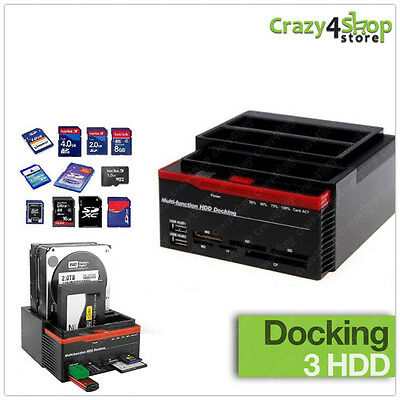 "Docking Station 3 Hard Disk Tripla Drive Sata Ide 2,5"" 3,5"" Box Case Hdd Hd Usb"