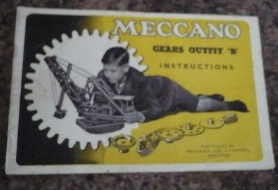 """Meccano Gears Outfit """"B"""" Instructions"""