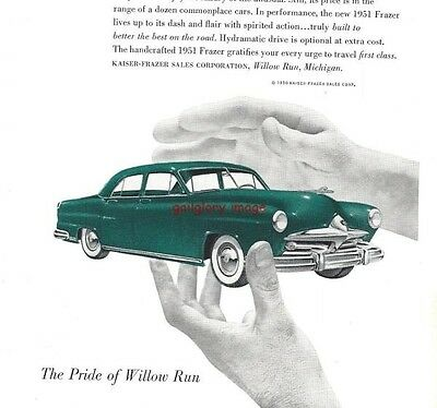1950 Frazer 3 Vintage Auto Print Ads 1951 Model Vagabond Pride Of Willow Run