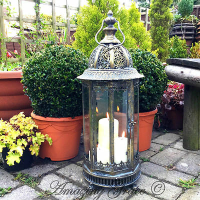NEW Extra Large Metal Garden Lantern Candle Holder Antique French Vintage Style
