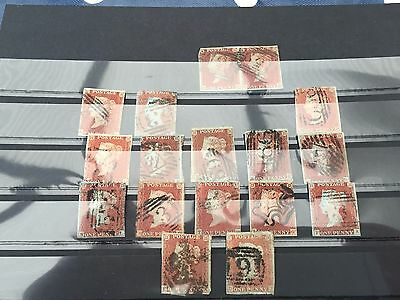 GB UK Victoria 17 penny red 1d imperf type stamps incl maltese cross & pair