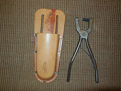 C. S. Osborne #8 Punch Spring Loaded & Leather Sheath  Handle Will Fit Only #8