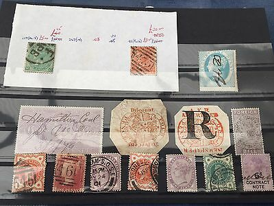 GB UK Victoria interesting quaint old hoard with some high value stamps