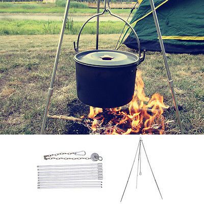 New Portable Outdoor Camping Campfire Alloy Tripod Grill Hanger Cooking Picnic
