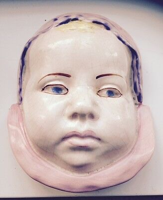 """Vintage Arthur Woods Wall Plaque """"shirley"""" Hand Painted Baby Face"""