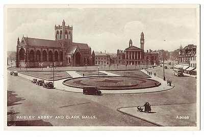 PAISLEY Abbey and Clark Halls, Phototype Postcard by Valentine, Unused