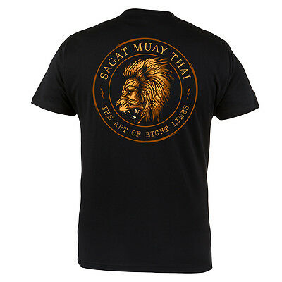 Sagat Muay Thai Training Gym Martial Arts MMA Mens Black Cotton T-shirt Top Tee