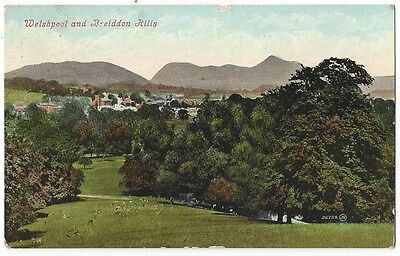 WELSHPOOL Breidden Hills, Old Postcard by Valentine Posted c1915, Cuilsfield p/m