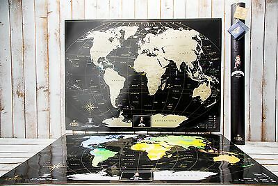 Deluxe Scratch off map - Best gift, large world map,Personal map, push pin