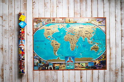 Premium colour world Scratch map, travel map, personalized gift, push pin map