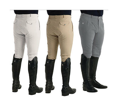 HyPERFORMANCE JAKATA Men's Breeches Pleated Front Knee Patches Grey Beige 28-38