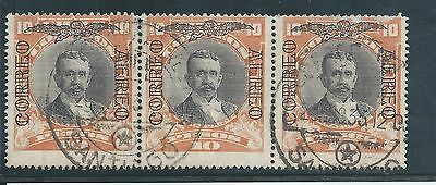 Chile - 1928 Airmail Overprint on 10 Pesos value - Used strip of three
