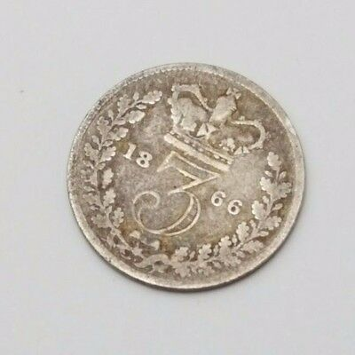 1866 - Silver - 3d Three Pence - Great Britain Queen Victoria - English UK Coin