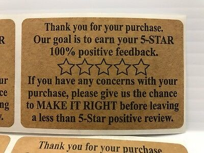 100 Ebay Amazon Etsy Thank You For Your Purchase Stickers 2 x 3 Label Labels