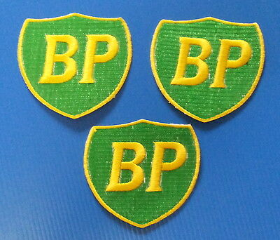 3 LOT BP GAS OIL Embrodered Iron Or Sewn On Patches Free Ship