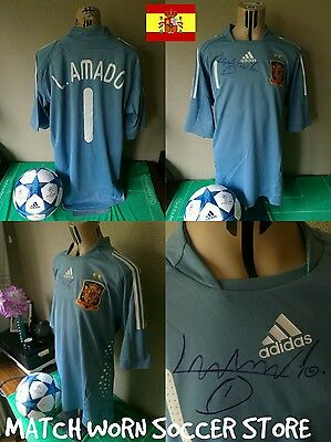 SHIRT CAMISETA MATCH WORN SPAIN GOALKEEPER ADIDAS FORMOTION Luis AMADO 1 Signed