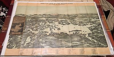Birds-Eye View Lake Winnipesaukee New Hampshire 1909 Antique Map Birds Eye Color