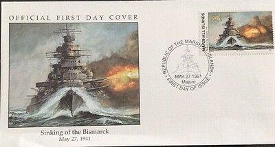 W21 4-2 Marshall Islands Fdc Cover 1991 Sinking Of The Bismarck 1941