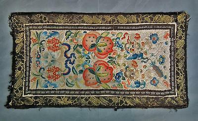 Superb Quality Antique Embroidery Chinese Qing Dynasty Embroidered Silk Panel