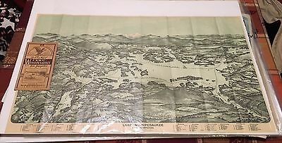 Birds Eye Map Lake Winnipesaukee New Hampshire 1909 Vintage Color Birds-Eye View